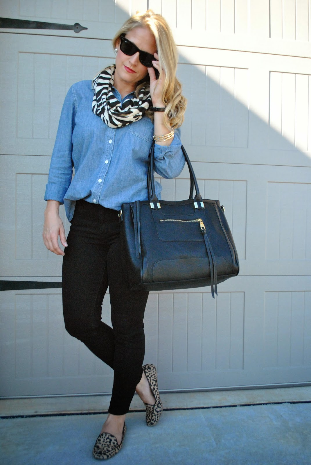Chambray Black Skinnies Steve Madden Oversize Tote Leopard