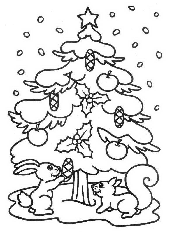 Ardillas decorando árbol navideño para colorear y pintar - Dibujo Views