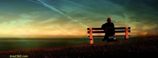 Ảnh bìa Facebook cô đơn, buồn - Alone Cover timeline FB, ngồi ghế cô đơn buồn 1 mình