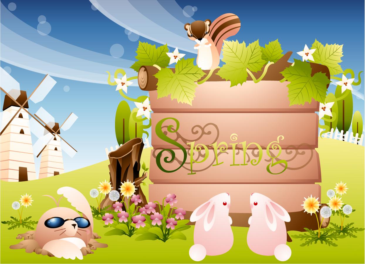 お伽話ふう動物の背景 cute cartoon backgrounds イラスト素材2