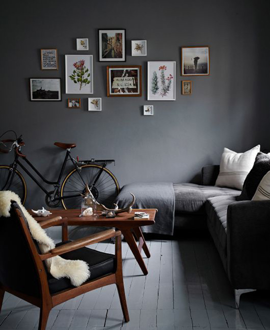 cool dark grey living room