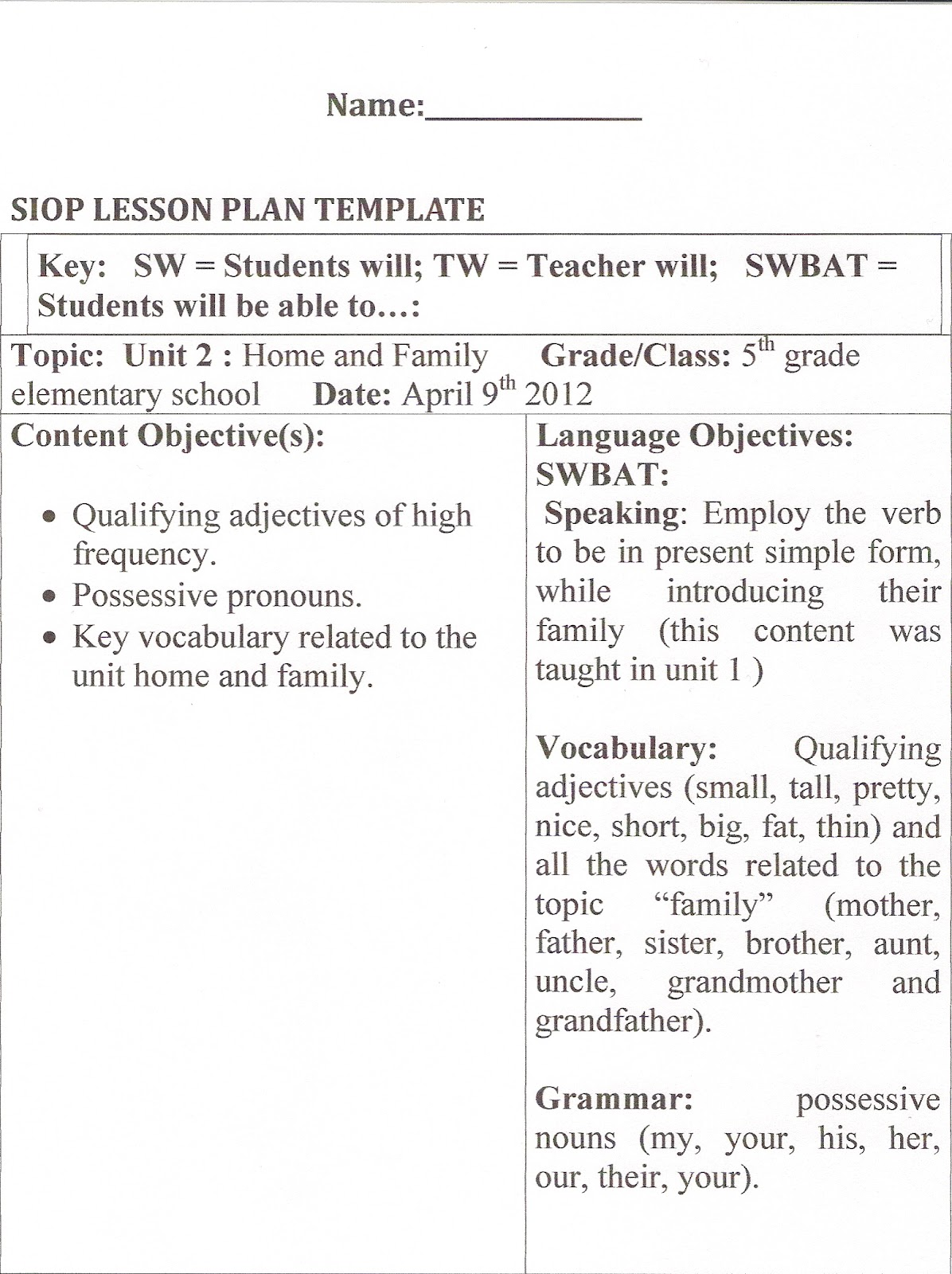 Calla Lesson Plan Template Images Read Aloud Lesson - Siop lesson plan template 2