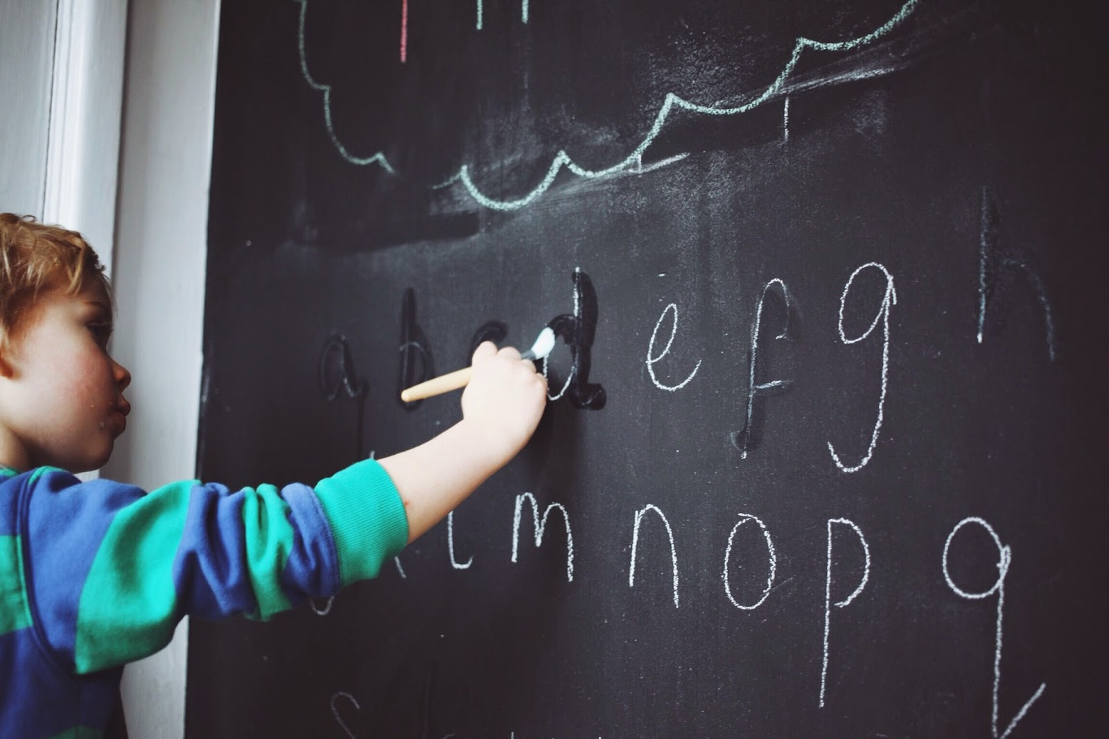 montessori at home lower case alphabet blackboard wall