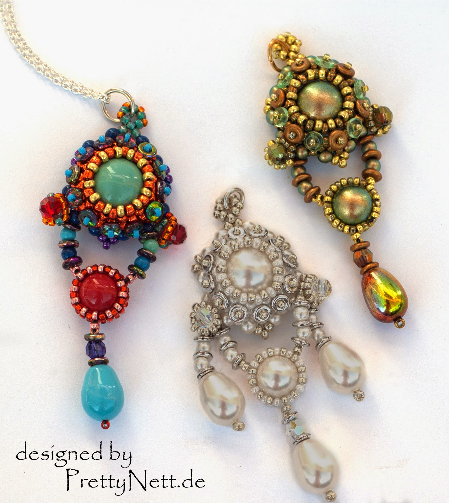 Beaded Pendant Anhänger QueenE - Tutorial by PrettyNett.de