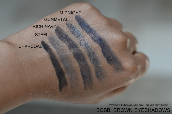 Best Must Have Eyeshadows for Indian Darker Skin Bobbi Brown Swatches Charcoal Steel Rich Navy Gunmetal Midnight Makeup Beauty Blog