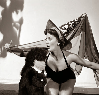 Halloween Pinup Girl Classic Black and White