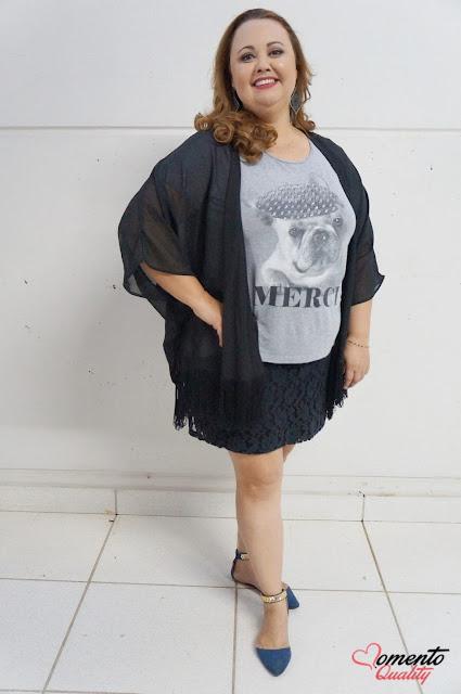 Look do Dia - T-Shirt, Saia de Renda e Kimono