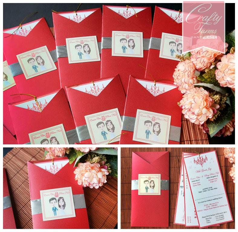 red and silver theme pocket wedding card