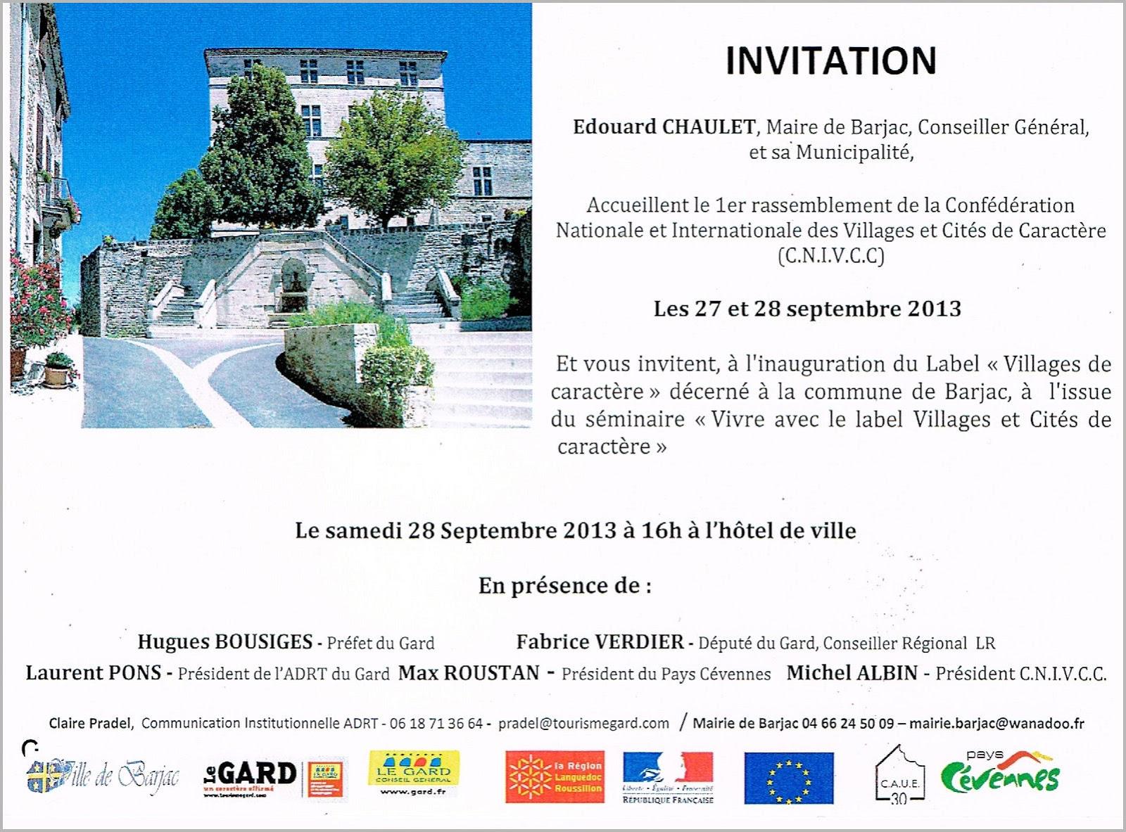 Invitation A L Inauguration Du Label Villages De Caractere Le