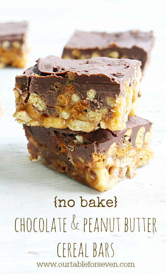 No Bake} Chocolate and Peanut Butter Cereal Bars