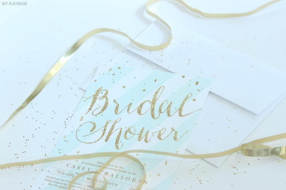 Glitter and gold themed bridal shower invitations