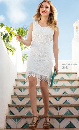 ropa primavera verano Carrefour Tex vestido crochet blanco