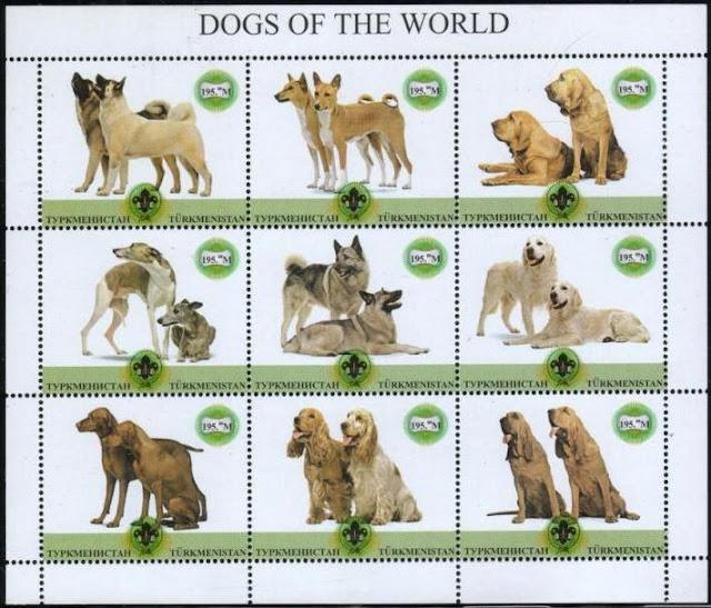 1999年トルクメニスタン 秋田犬 バセンジー ブラッド・ハウンド ウィペット ノルウェジアン・エルクハウンド ラブラドール・レトリーバー ビズラ コッカー・スパニエル ブラッド・ハウンドの切手シート