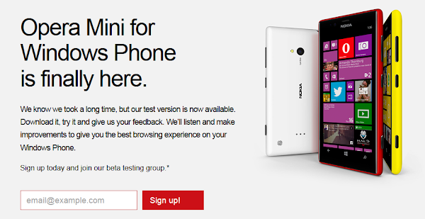 Opera Mini beta now available for Windows Phone users