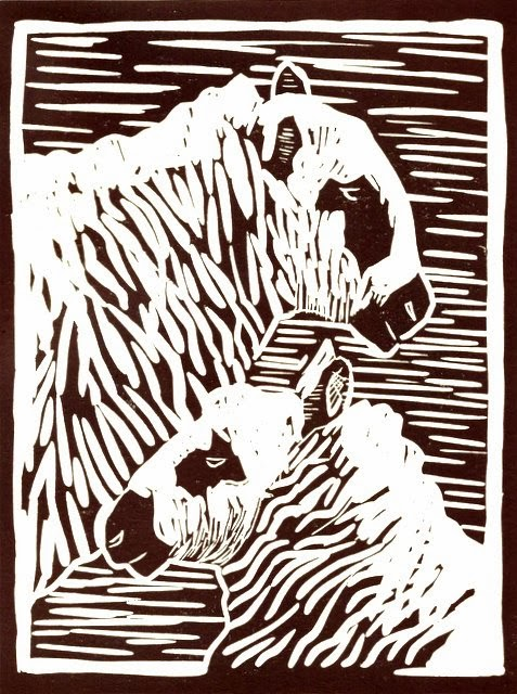 Kerry Hill sheep linocut