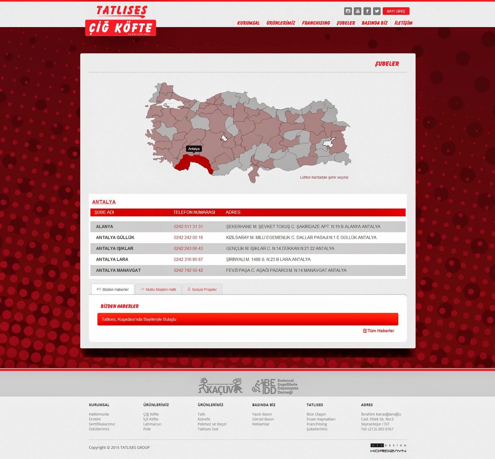 Tatlıses Çiğ Köfte Web Tasarım - Alt Sayfa Detay
