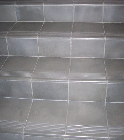 Avente tile talk cement tile stair treads provide a great - How to tile concrete stairs ...
