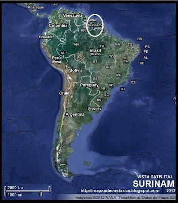 Ubicación de SURINAM en Sudamérica, Vista Satelital