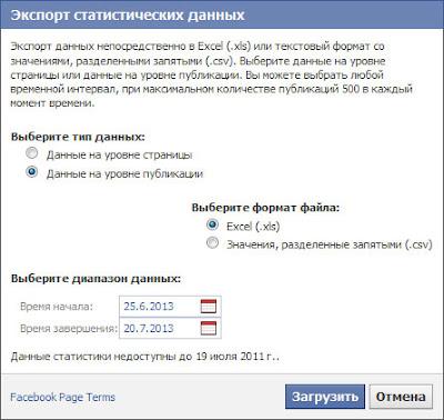 Экспорт данных Статистики Страницы в Facebook