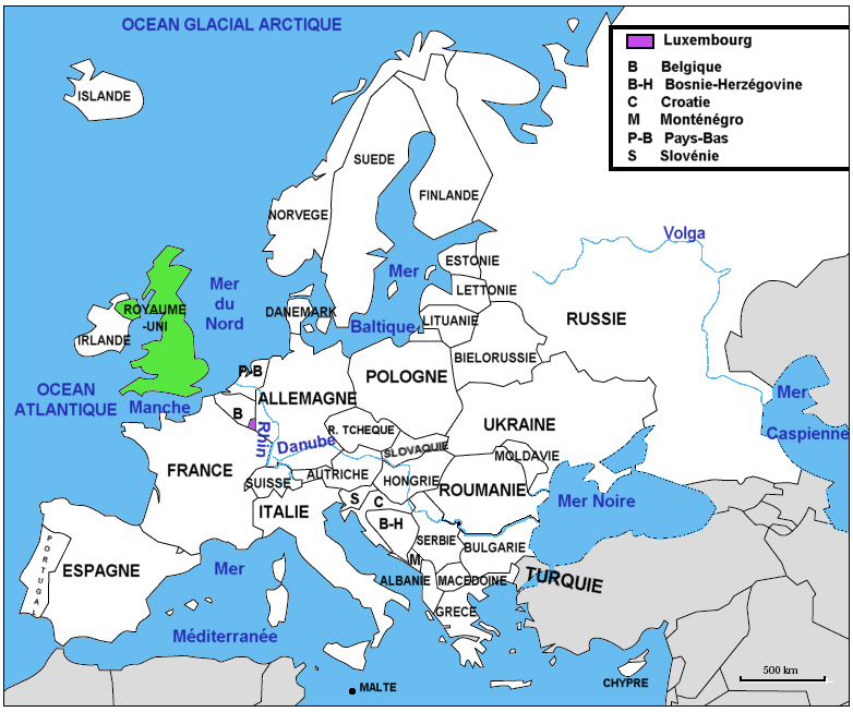carte europe ocean