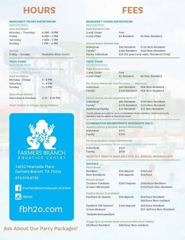 Classes, Hours, and Fees at the Farmers Branch Aquatic Center #DFW #party #FBH2O