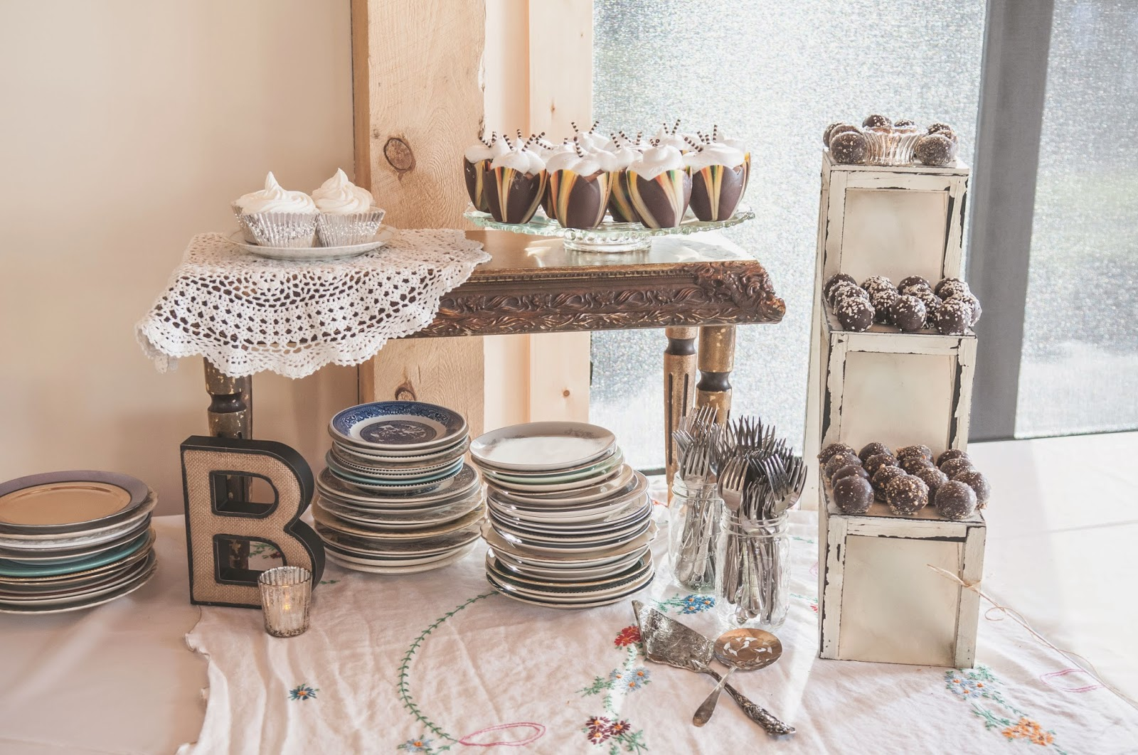 Bite-sized wedding dessert table