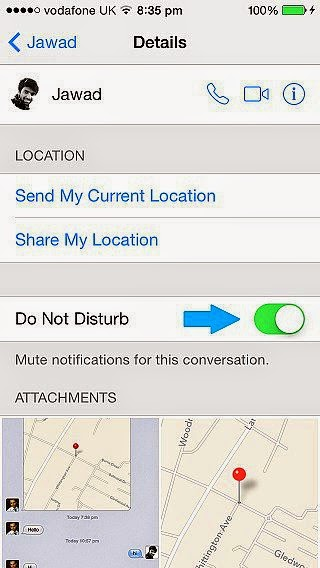 IOS 8 kişiye özel mesaj bildirimini kapatma