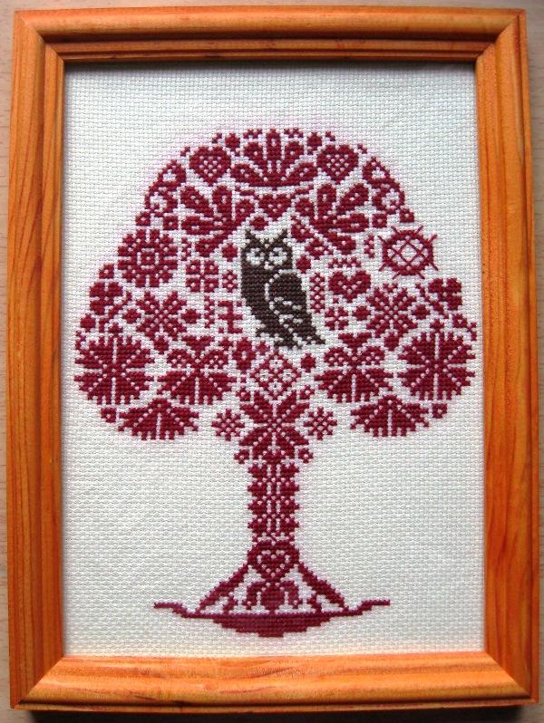 Вышивка схема дерево с совой