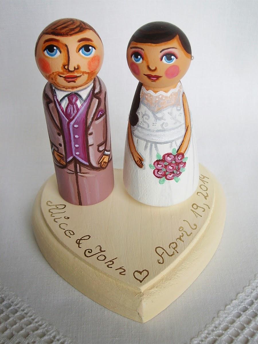 Personalizowane na zamówienie malowane figurki figurka ozdoba na tort weselny ślubny dekoracja tortu panna młoda pan młody nowożeńcy