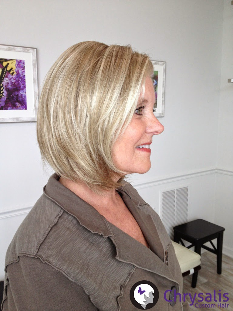 Sideview of blonde bob wig with lacefront for a chemo patient