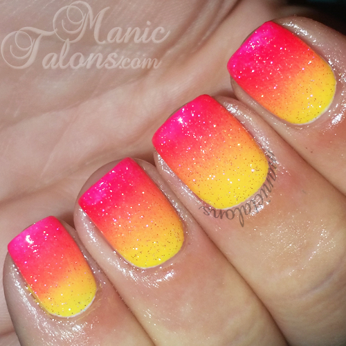 Bright Summer Gradient with Holographic Top Coat