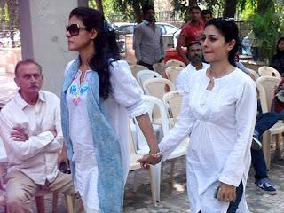 Kajol  at Joy Mukherjee's funeral