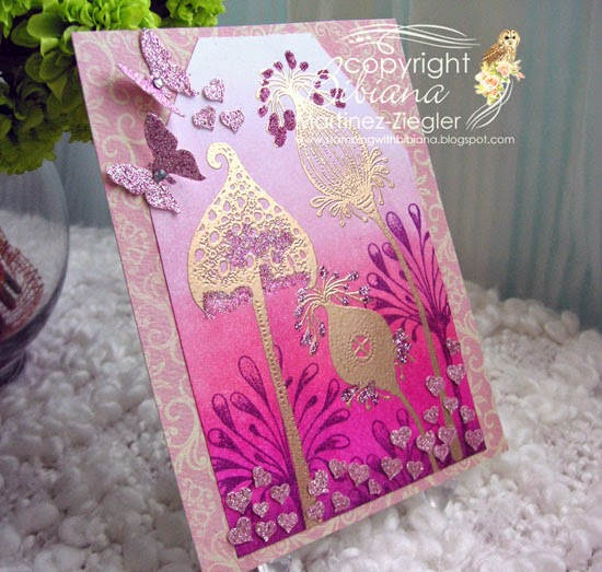 ombre technique card side with lavinia stamps