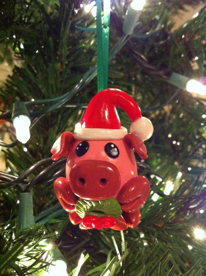 Spicy Pinecone: Poly Clay Christmas Piggy Ornament