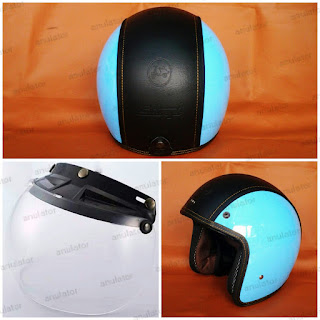 Helm Retro Classic Model Embos Vespa Sdoopy Blue Black