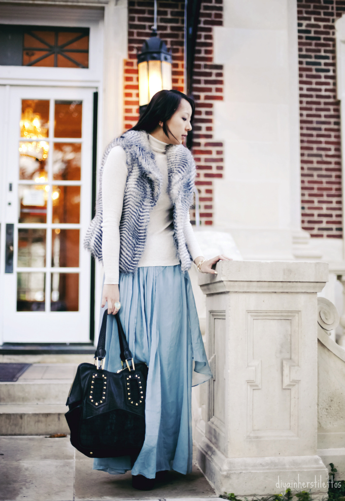 asos waterfall maxi chiffon skirt, victoria's secret cotton turtleneck sweater, bb dakota faux fur vest, river island pony hair pumps, kendra scott ring jewelry, house of harlow leather tote bag, austin fashion, austin street style, austin fashion blog, texas fashion blog, diya liu