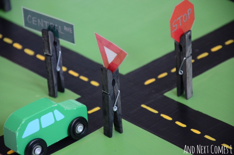 DIY interchangeable road signs for car play from And Next Comes L