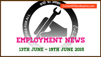 Employment News 13th June - 19th June 2015