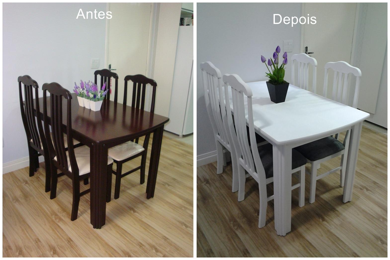 móveis da sala. Pintei a mesa e as cadeiras e troquei os assentos #7F6A4C 1569x1044
