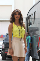 Priyanka Chopra looks beautiful in yellow tank top and mini skirt