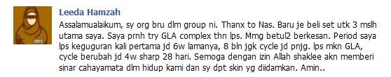 Testimoni pengguna GLA COMPLEX SHAKLEE