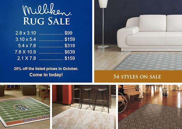 Milliken Rug Sale details - 20% off in October