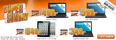 Saturn Super Sunday: iPad 2 64 GB Wifi + 3G für 649€ sowie weitere Notebook-Restposten