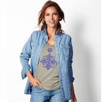 Camasa din jeans cu imprimeu buline