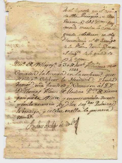 Documento firmado por el Arzobispo de Valencia sobre la concesión para edificar una ermita en Relleu. Ao 1744