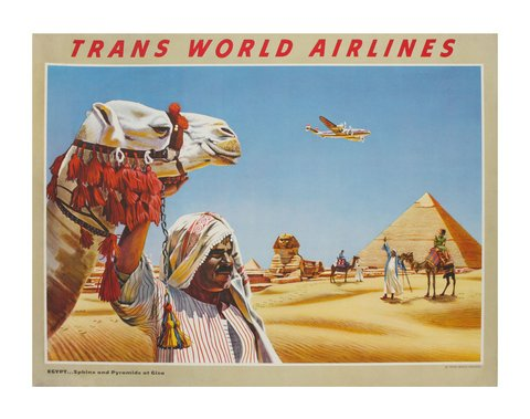 classic posters, free download, graphic design, retro prints, skiing, sports, travel, travel posters, vintage, vintage posters, Trans World Airlines, Egypt - Vintage Travel Poster