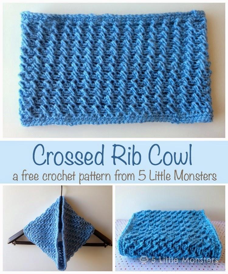 5 Little Monsters Crossed Rib Cowl A Free Crochet Pattern