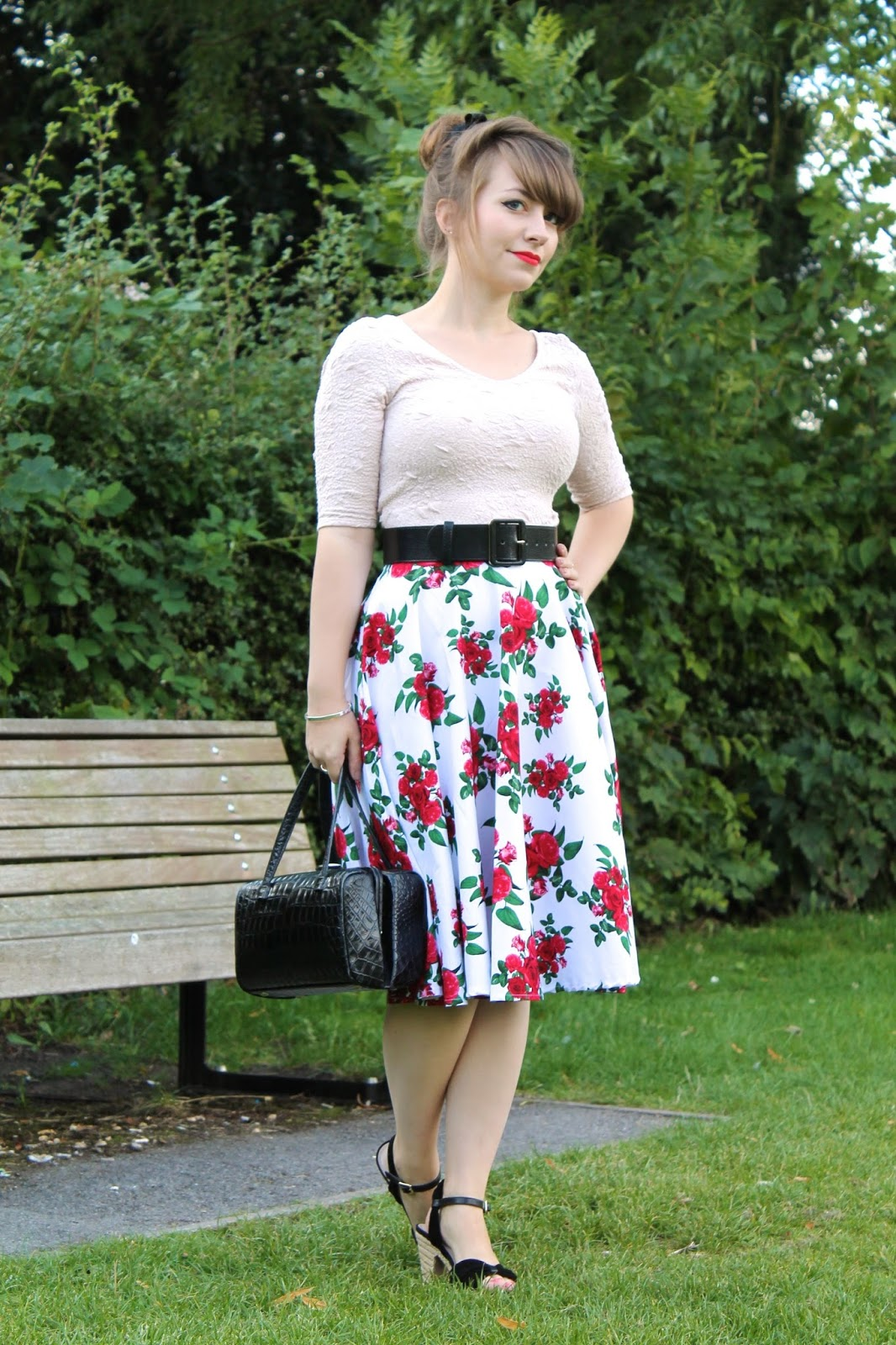 50s summery outfit with Hell Bunny Cannes floral skirt