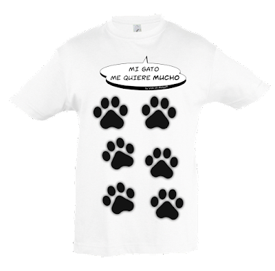 "Camiseta manga corta para niños y niñas ""Amor gatuno"" color blanco"