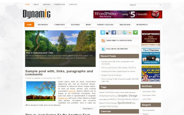 Dynamic Orange Chrome Free Wordpress Theme